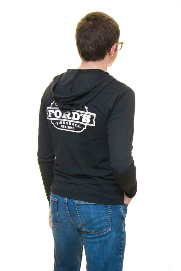 Back of Ford's Fish Shack Hoodie worn half zipped with hoodie down in Rich Gray