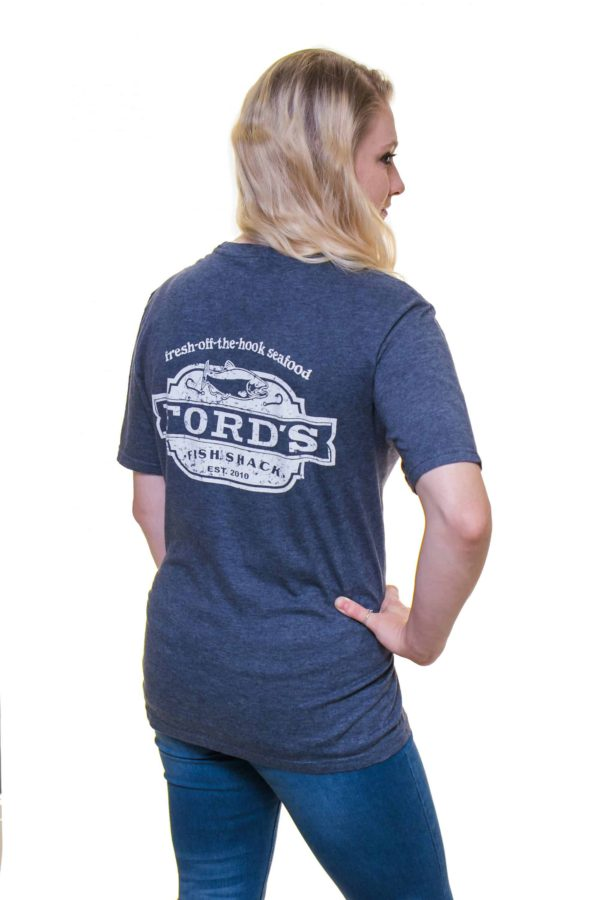 Back of Ford's Fish Shack T-Shirt in Mariner Blue