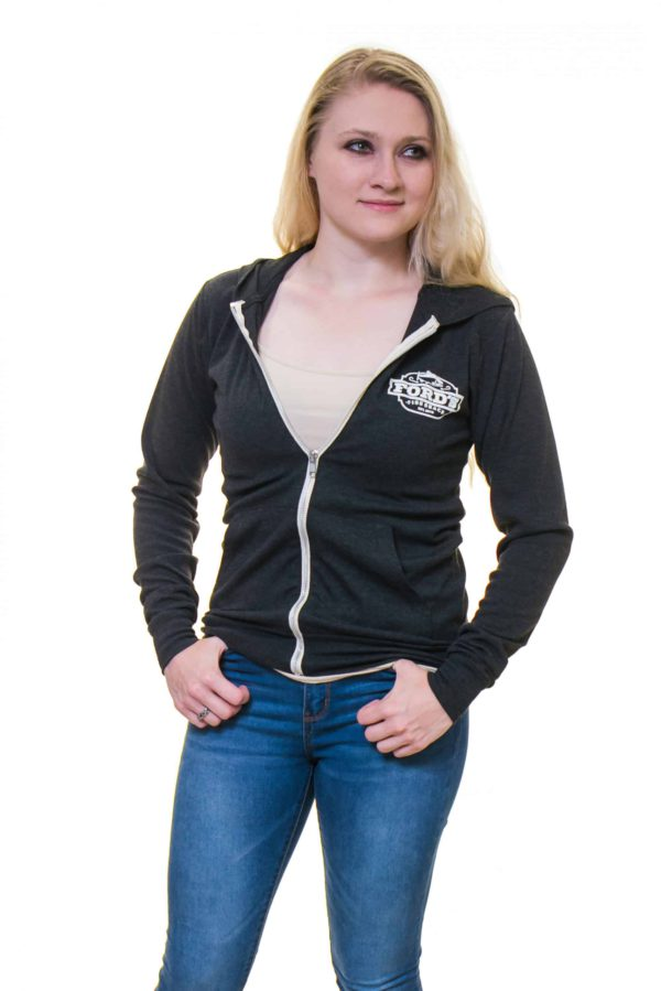 Front of Ford's Fish Shack Hoodie worn half zipped with hoodie down in Rich Gray