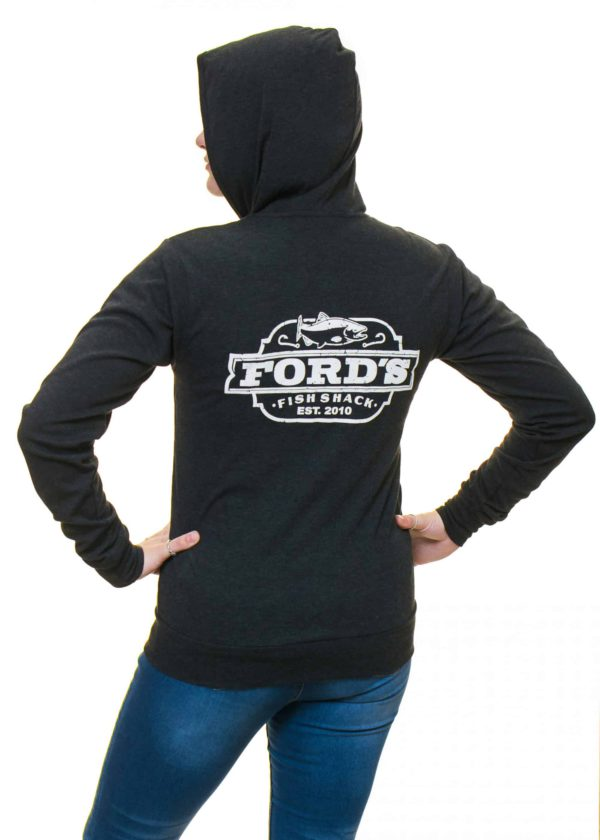 Back of Ford's Fish Shack Hoodie worn half zipped with hoodie on in Rich Gray