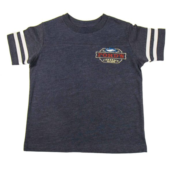 Front of Ford's Fish Shack Toddler Jersey Shirt in Rich Gray