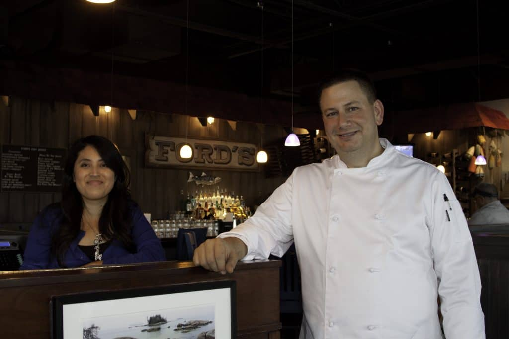 Ford's Fish Shack Opening Day Picture of Tony and Ana